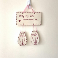 Pink Cats Wall Hanging - Pottery Cats - Ceramic Cats - Wall Decor