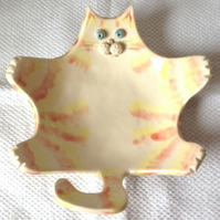 Ginger Cat - Soap or Trinket Dish - Ceramic Soap Dish - Pottery Soap Dish