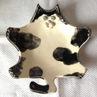 Black & White Cat Soap Dish - Trinket Dish - Bonnie Bellyrub - Ceramic - Pottery