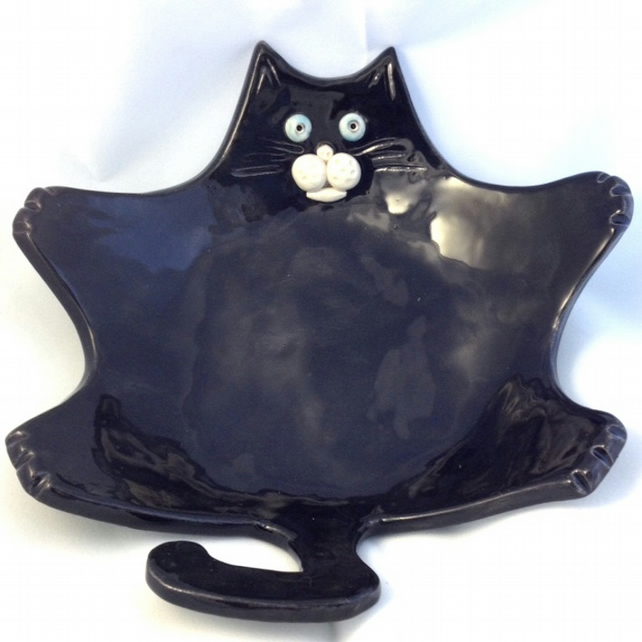 Black Cat Soap or Trinket Dish - Winston Whiskers - Ceramic Cat - Pottery Cat