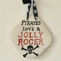 Jolly Roger Plaque - Ceramic Plaque - Pottery Plaque - Pirate Plaque