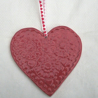 Red Hanging Heart - Pottery Heart - Ceramic Heart