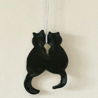 Black Cats Wall Hanging - Ceramic - Pottery - Cats