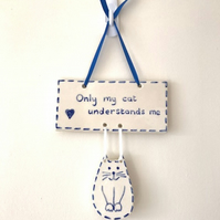 Blue Cat Wall Hanging - Pottery Cats - Ceramic Cats - Wall Decor