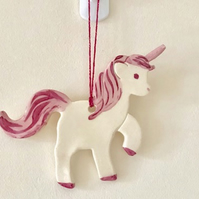 Unicorn Wall Ornament - Wall Hanging - Ceramic Unicorn - Pottery Unicorn