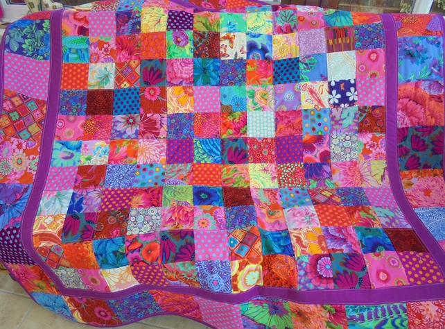 patchwork quilt, multi coloured quilt, patchwork throw, patchwork blanket,