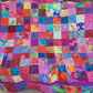 multi coloured square quilt, patchwork throw, patchwork blanket,