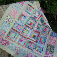 liberty of london patchwork blanket, quilt, baby bedding,