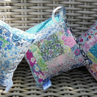 liberty patchwork lavender bags, lavender pillows, drawer freshners, door hanger