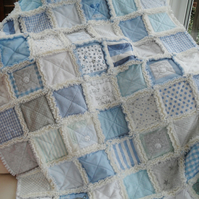 Memory quilt, keepsake quilt, handmade patchwork rag quilt, baby clothes blanket
