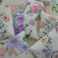 vintage linen lavender bags, lavender pillows, drawer freshners, door hanger