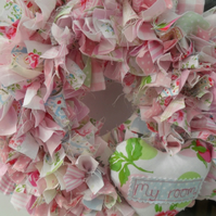 rag wreath, baby girl decoration, hanging decoration, bedroom decoration
