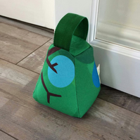 Green and Blue Doorstop in original Oak Tree pattern