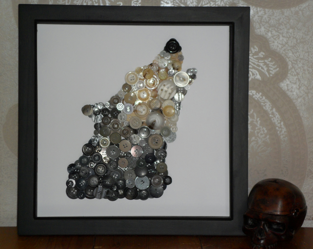 Wolf Button Art Folksy