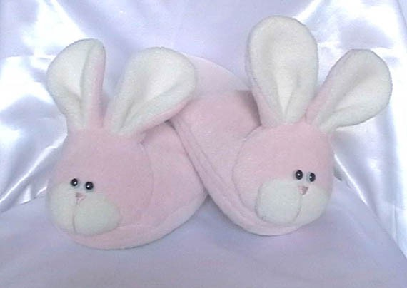 Pink fluffy bunny slippers