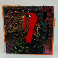 Handmade Vintage Turkey Card, One-Of-A-Kind