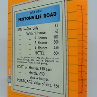 1950-60s Vintage Pentonville Road Monopoly Card (With Money)