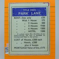Eco-Friendly 1950-60s Park Lane Monopoly Card, One-Of-A-Kind