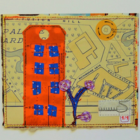Handmade Sewn London Postcard, One-Of-A-Kind
