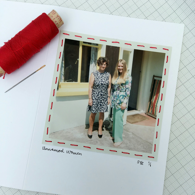Hand Sewn Vintage Photo Card, One Of A Kind