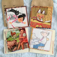 Unique Handmade Cards - Pack 4