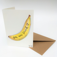 Hand Painted Banana Valentine Card, original art