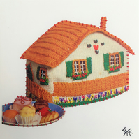New Home Vintage Tea Cosy, original signed art