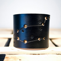 Mens Black Leather Pisces Constellation Cuff