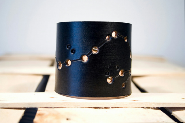 Mens Black Leather scorpio Constellation Cuff