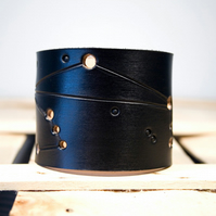 Mens Black Leather Libra Constellation Cuff