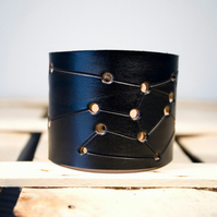 Mens Black Leather Sagittarius Constellation Cuff