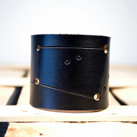 Mens Black Leather Cancer Constellation Cuff
