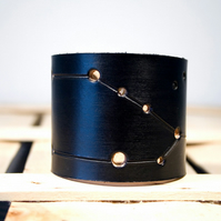 Mens Black Leather Taurus Constellation Cuff