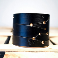 Mens Black Leather Gemini Constellation Cuff