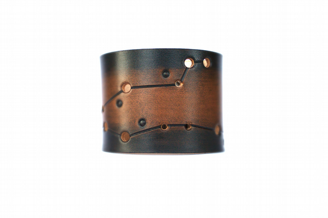 Leather cuff Pisces constellation