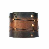 Mens Gemini Leather cuff handmade