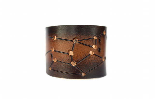 Mens Sagittarius zodiac leather cuff