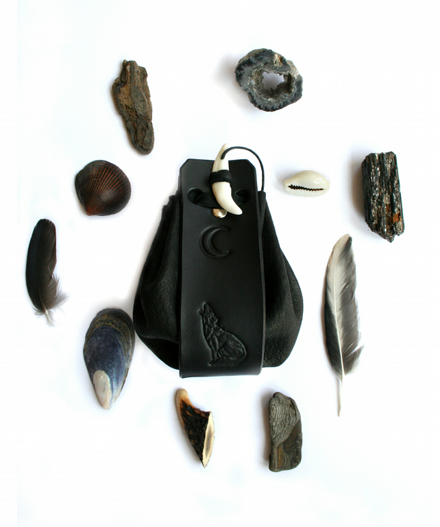 Black Wolf Leather Medicine Pouch can be personalized