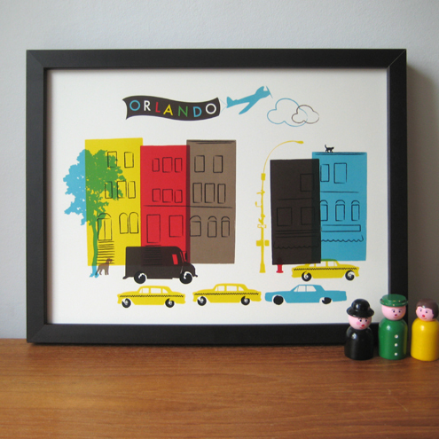 New York Street Scene - Personalised Print for Baby Nursery or Child's Play Room