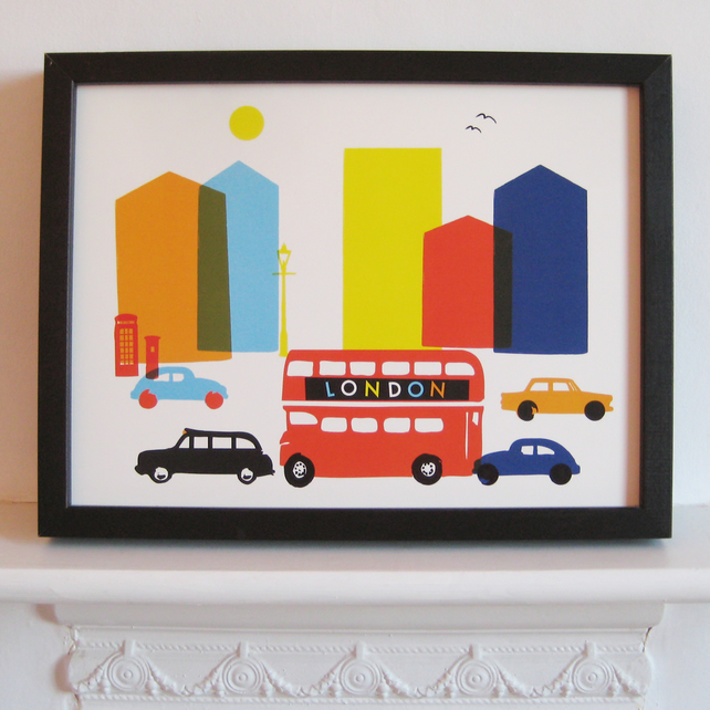London Bus Print by Ruka-Ruka Print Studio