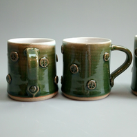 Green 'Peace' Tea or Coffee Mug - Hand Thrown Ceramic Pottery