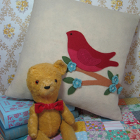 Hand appliqued bird cushion cover