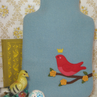 Soft blue wool hot water bottle cosy