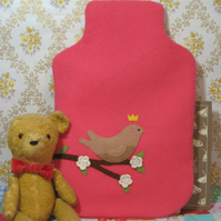Little brown bird wool hot water bottle cosy
