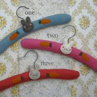 Pair of bunny face children's coat hangers