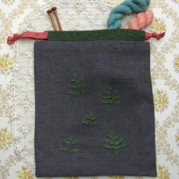 Hand Embroidered Project Bag