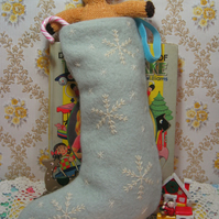 Ice blue small Christmas stocking