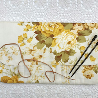 Vintage yellow floral print knitting needle wrap