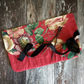 Vintage red linen floral knitting needle wrap
