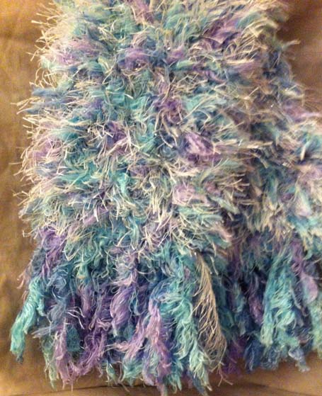 Blues and purples fluffy lady's scarf with tassels
